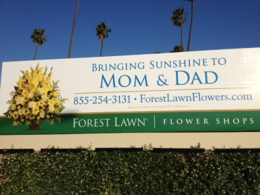 Billboard outside Forest Lawn Cemetery, Los Angeles, CA