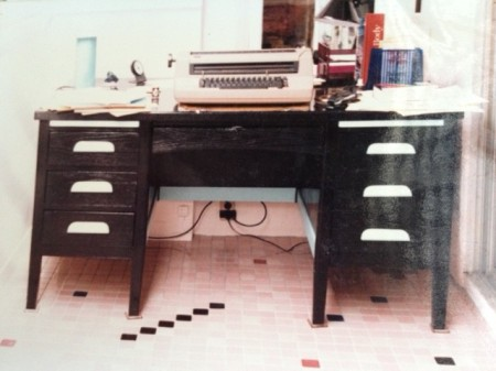 More of my tile floor, and the world's greatest writing machine: the IBM Correcting Selectric typewriter.