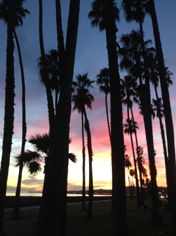 Sunset at East Beach, Santa Barbara, January, 2014.