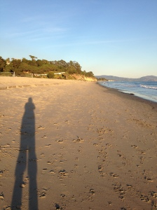 Me at the beach as sunset approaches.