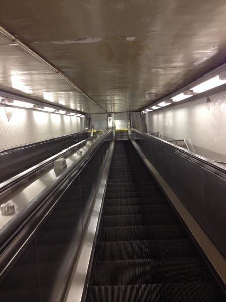 Manhattan subway escalator.