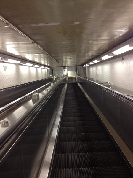 Manhattan subway escalator.